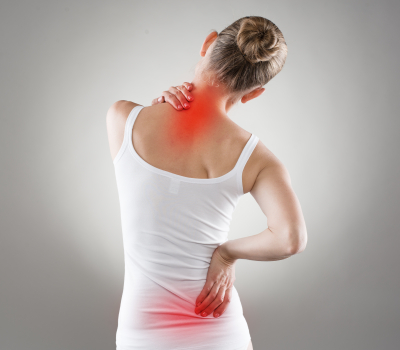 spinal cord problems on woman's back